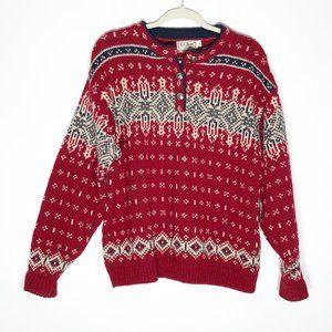 L.L. Bean Sweater Womens Large Nordic Pattern